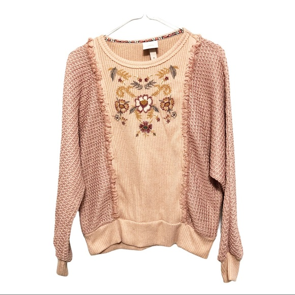 Knox Rose Floral Embroidered Knit Sweater
